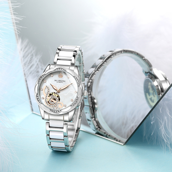 New Women's Watches 2021Diamond Luxury Design Ceramic Stainless Steel Strap Montre Femme Automatic Mechanical Relojes Para Mujer 3