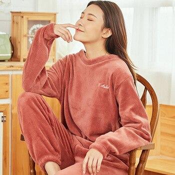 Cálidos Pijamas ropa para el hogar para Mujer Pijamas de franela para Mujer Invierno sólido traje para casa ropa de dormir Pijamas de Invierno Mujer Pigiama Donna