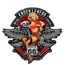 Funny 13cm X12.1cm 3D Sexy Girl Knucklehead Motorcycles RT66 Pin Up Girl Waterproof Car Window Bumper Accessories Car Sticker