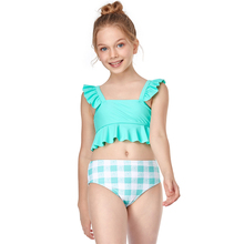 Girls Swimsuit Bikini Two-Piece 2-13years Ruffle Infantil Striped Children's New