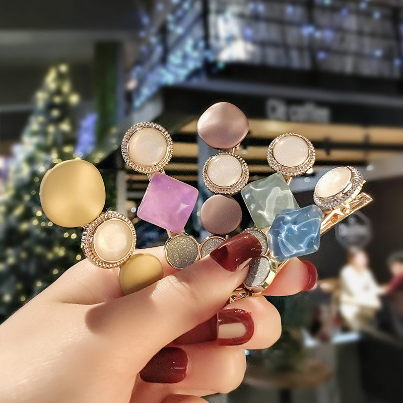 1Pair New Fashion Womens Girls  Round Hairpins Hair Accessories Vintage Tide Harajuku Creative Macarons Hairpin Simple And Fresh