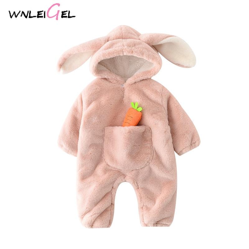 WLG/зимняя хлопковая модная одежда с капюшоном для маленьких мальчиков и девочек Детские плотные однотонные теплые розовые комбинезоны с