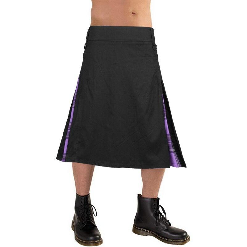 DIHOPE 2020 Men Waist Casual Skirt Pant Solid Plaid Punk Hip-hop Avant Garde Men Fashion Scotland Trousers Scottish Kilt