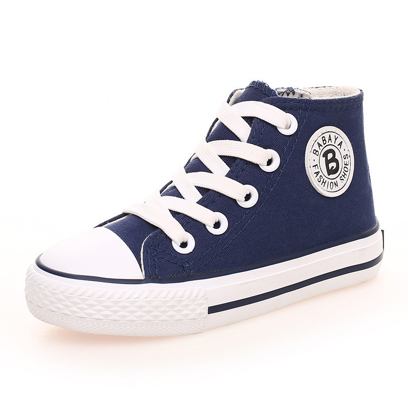 Image 2 - Kids shoes for girl children canvas shoes boys sneakers 2019 Spring autumn girls shoes White High Solid fashion Children shoesshoe boxes for bootsshoe candlesshoe flower -