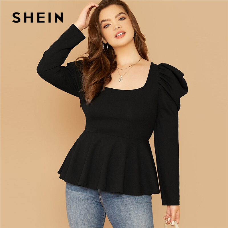 SHEIN Plus Size Black Gigot Sleeve Peplum Top Women Autumn Solid Square Neck Elegant Office Lady Womens Tops And Blouses