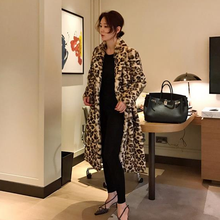 Classic Leopard Print Color Faux Fur Coat Women Long Thick Warm Jackets Fluffy Overcoats Winter Street Outerwear Plus AQ192(China)