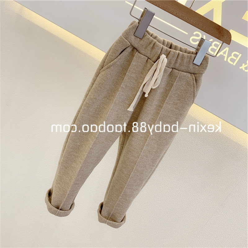 Baby Girls Pants Knitted Elastic Casual Pants Spring Autumn Children's Wear 2021 Casual Clothes Trousers Girl Solid Full Length 2