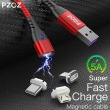 Pzoz 5a tipo de cabo magnético c usb carregador rápido micro cabo usb para iphone 11 max xr redmi nota 9s grau cabo de carregamento magnético