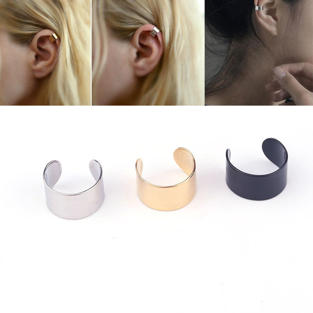 1 Pieces Fashion Clip Earrings Ear Cuff Fake Earings Stainless Steel Black Gold Silver Adjustable Size Ear Wrap