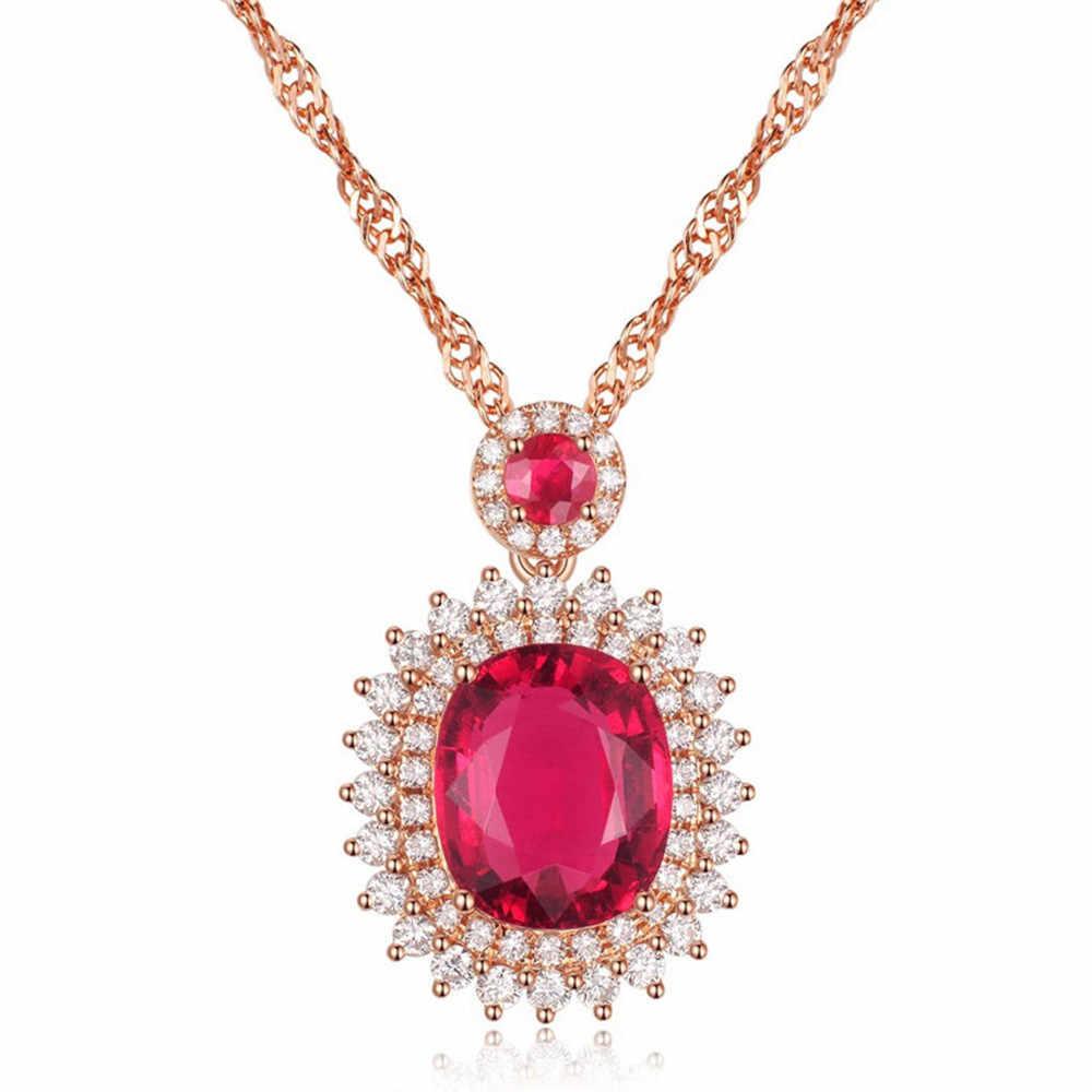 גדול רובי חן תליון שרשרת וטבעת סטים לנשים יוקרה אדום קריסטל 14k רוז זהב יהלומי זירקון המפלגה תכשיטי מתנה
