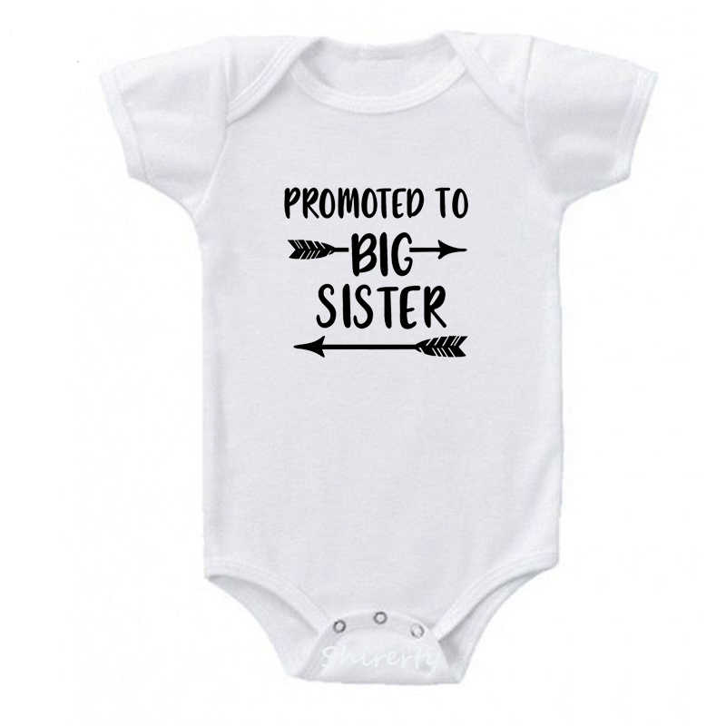 Повышен до «Big Sister» («старшая сестра»); Детский комбинезон из хлопка для малышей, боди короткий рукав Костюмы комбинезон для детей с принтом букв Одежда для маленьких мальчиков и девочек