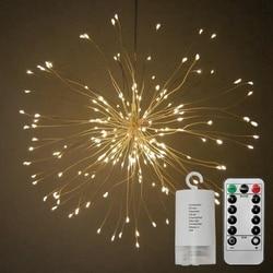 Led String światła dekoracyjne Garland ślub boże narodzenie światła składany bukiet kształt fajerwerków światła  ciepły biały w Girlandy świetlne od Lampy i oświetlenie na