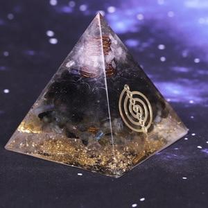 Image 4 - Geometrie Orgonite Piramide Muladhara Chakra Ossidiana Cristallo Naturale Labradorite Respingere Spiriti Maligni Decorazione Piramide