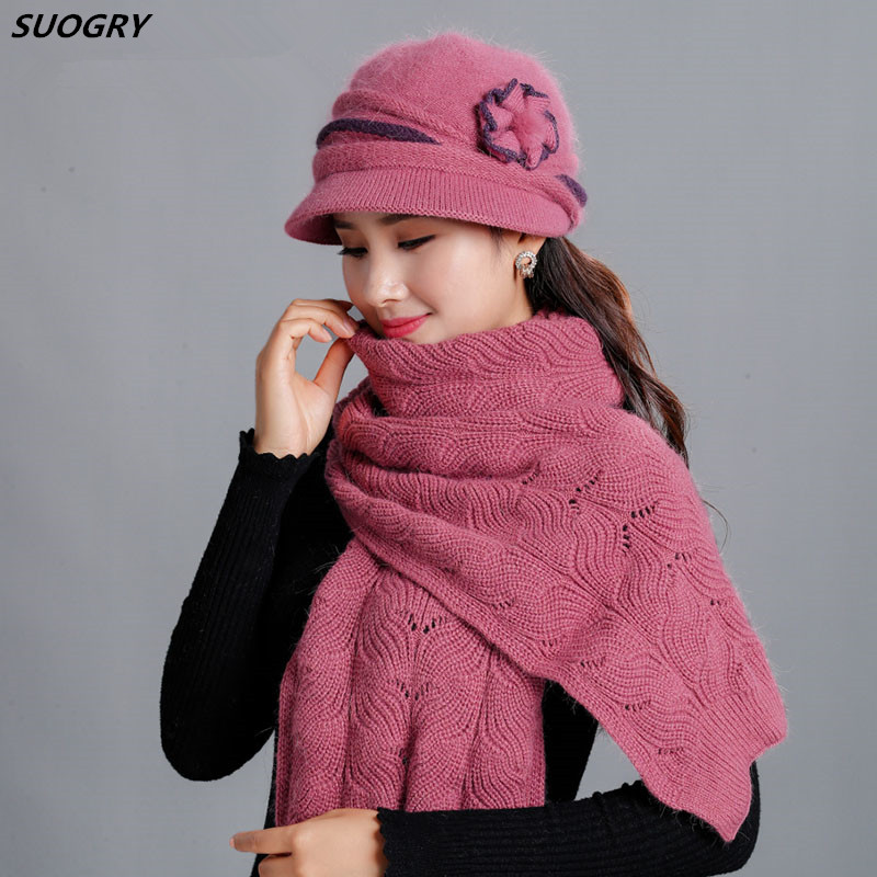 New Winter Women Rabbit Fur Hat Scarf Set Lady Warm Wool Knitted Plush Hat Scarf Crochet Sets Beanie Mother Caps Scarf Shawl Gif