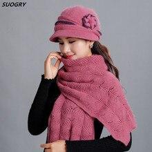 New Winter Women Rabbit Fur Hat Scarf Set Lady Warm Wool Knitted Plush Hat Scarf Crochet Sets Beanie Mother Caps Scarf Shawl Gif