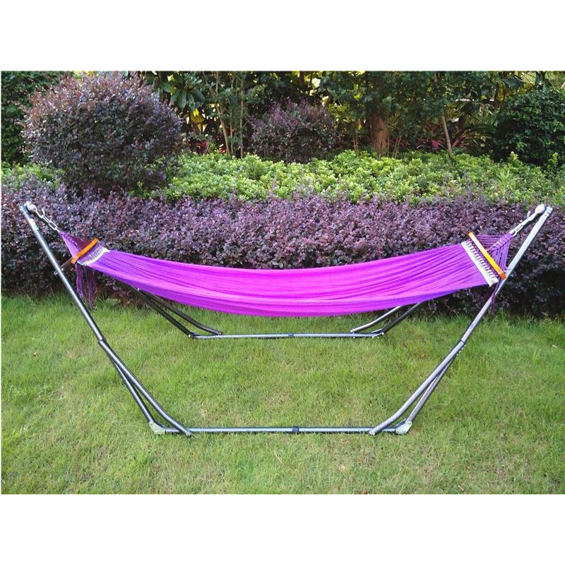 Manufacturers Direct Selling Japan Best Seller Hammock Outdoor Thick Iron Bracket Hammock Leisure Hammock Multi-color Selectable
