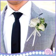 Flor Beige de seda del novio Boutonniere nupcial decoración de la boda broche de la flor del corsé de matrimonio para el mejor hombre