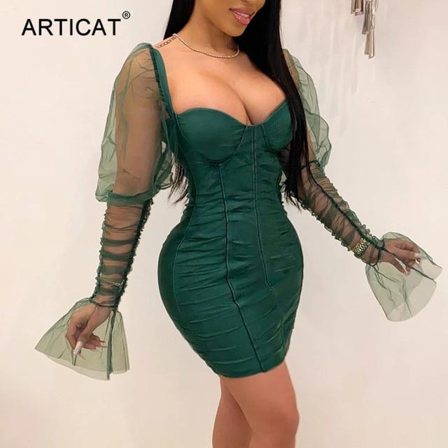 Articat Sexy Mesh Puff Sleeve Party Dress Women Low Collar Backless Patchwork Red Mini Dress Nightclub 2020 Spring Vestidos 2