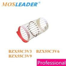 Mosleader 5000pcs do35 bzx55c3v3 bzx55c3v6 bzx55c3v9 상자없이 테이프의 dip 3.3 v 3.6 v 3.9 v 중국 상품