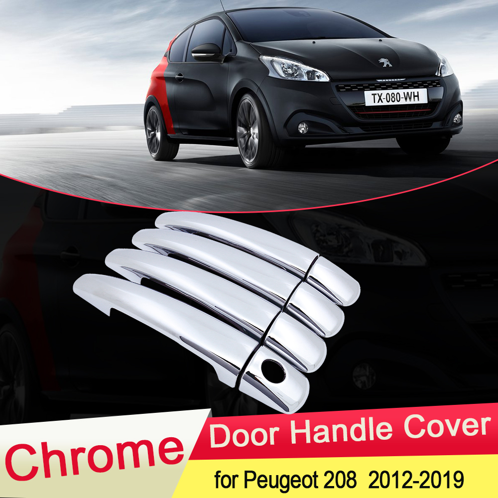 for <font><b>Peugeot</b></font> <font><b>208</b></font> 2012 2013 2014 20152016 2017 2018 2019 Luxuriou Chrome <font><b>Door</b></font> <font><b>Handle</b></font> Cover Trim Car Set Styling Accessories ABS image