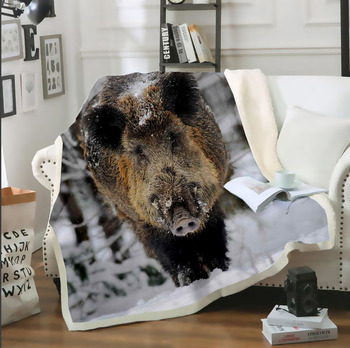 Wild Boar On Snow 3D Print Throw Blanket on Sofa Bed Chair Fleece Sherpa Blanket Bedspread Blanket Thin Quilt For Adult Kids soft spring autumn 4 color portable blanket fleece bedding throws on sofa bed car chair in living room plaids bedspread