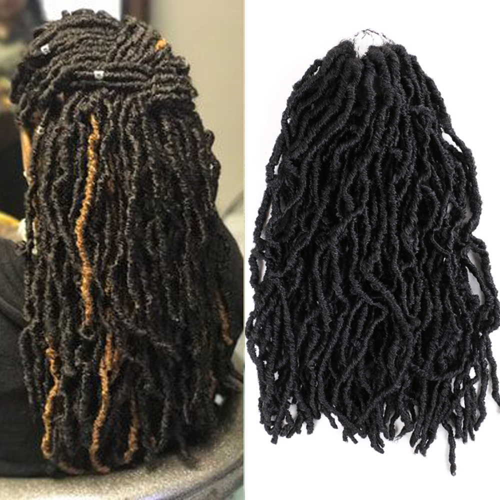 Aigemei Nu Locs Goddess Faux Locs Curly Ombre Braiding Hair 18Inch 21 Strands/pack Synthetic Crochet Braid Hair Exntension