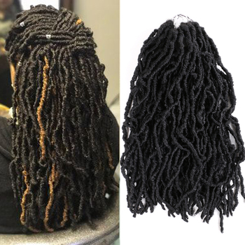 Aigemei Nu Locs Goddess Faux Locs Curly Ombre Braiding Hair 18Inch 21 strands/pack Synthetic Crochet Braid Hair Exntension aigemei crochet hair extension curly senegalese twist braid synthetic braiding hair 18 inch