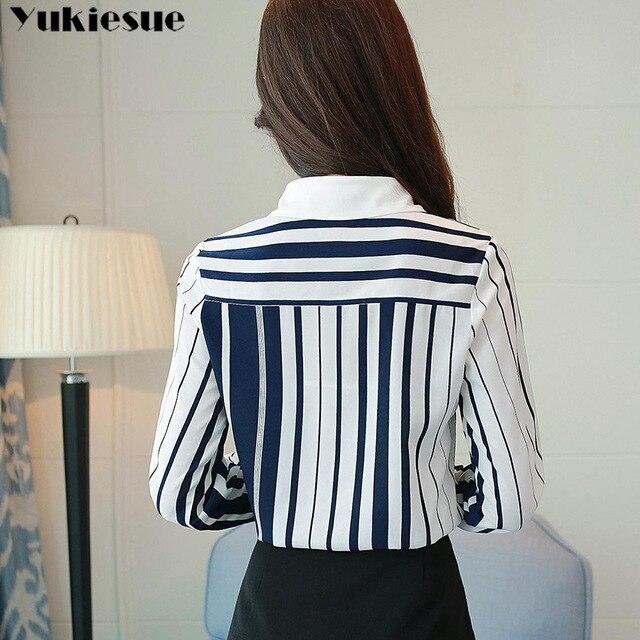 Classical Style Chiffon Blouse Fashion Women striped Long Sleeve Shirt Office Lady Women Tops Blusas Femininas Camisas Mujer 6