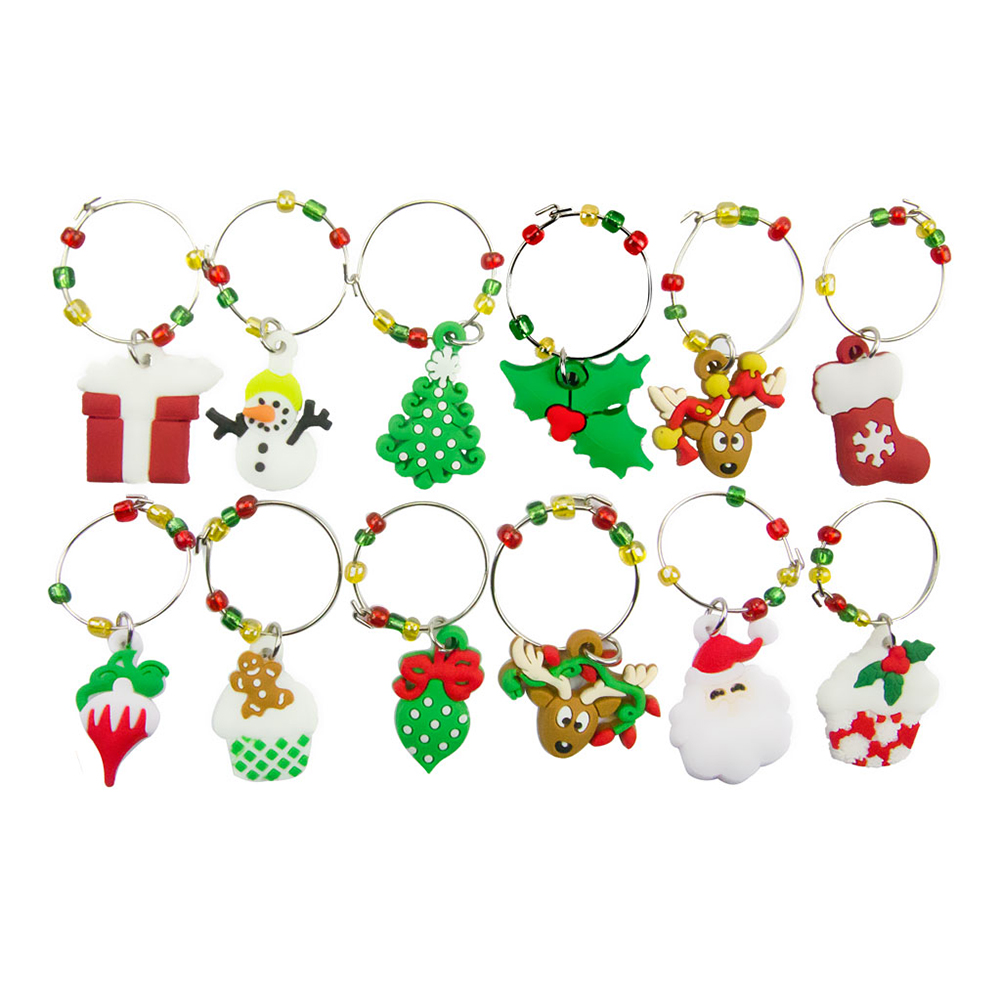 6pcs 12pcs Cup Glass Jewelry Metal Christmas Reindeer PVC Party Snowman Wine Charms Table Decorations Soft Enamel Gift Mixed Fit