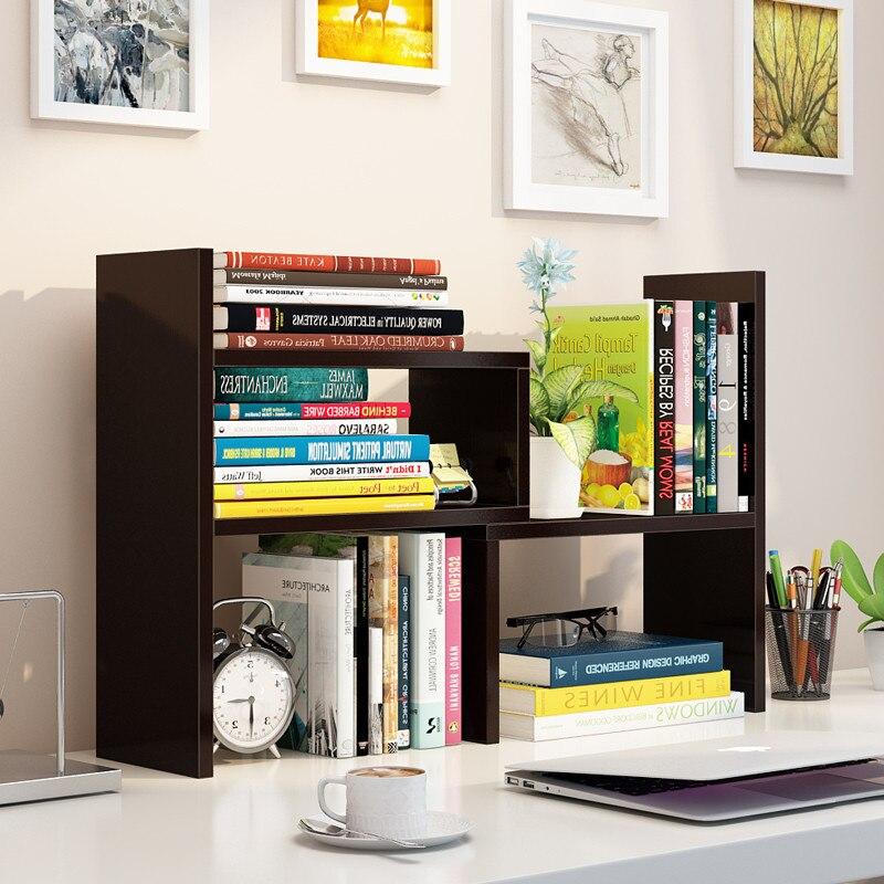 Simplicity Combination Bookshelf Creative Table Small Bookcase Office Wooden Shelf Desktop Storage Rack Manufacturers Wholesale