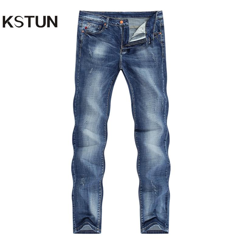 Jeans Men Light Blue Stretch Slim Straight Regular Fit Casual Jeans Male Denim Pants Male Long Trousers Top Quality Plus Size 40