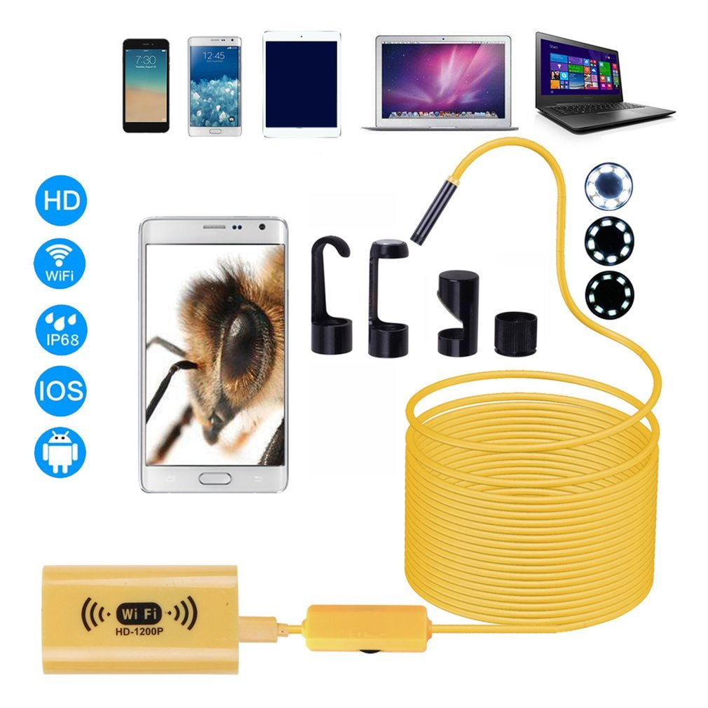 F130 HD 1200P Adjustable 8 LEDs Wifi Endoscope Camera 8.0mm IP68 Hard Cable With Multi-purpose For IOS For Android For Windows