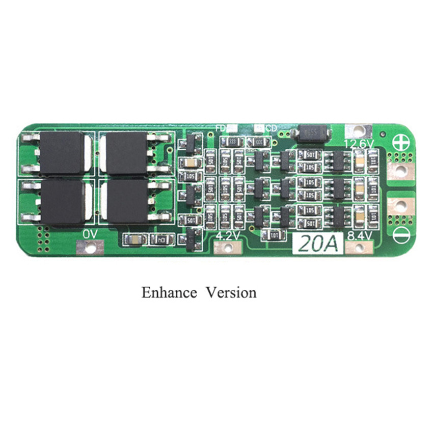 3 String 12.6V <font><b>20A</b></font> Battery Protection Board Enhanced Version 3S20A <font><b>BMS</b></font> Lithium Battery Boards With AUTO Recovery Function image