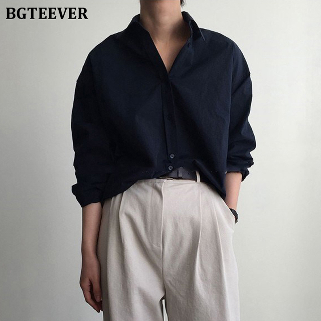 Vintage Single-breasted Solid Women Blouse 1