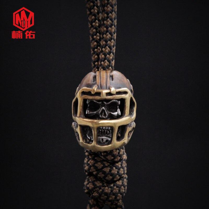 1PC rétro Bronze tibétain argent Rugby chapeau casquette de Football crâne EDC Paracord perles parapluie corde cordon lanière pendentifs couteau perles - 3