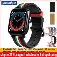 Greentiger P12 Smartwatch wybierz połączenie Bluetooth odtwarzanie muzyki IP67 wodoodporna pamięć 4G MT2 inteligentny zegarek podłącz TWS słuchawki PK P8