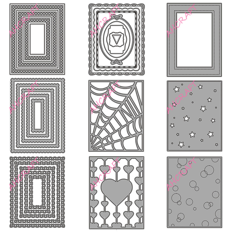 2# Background Frame Set Metal Cutting Dies For DIY Scrapbooking Photo Album Decorative Embossing Paper Card Crafts Die Cut 2020