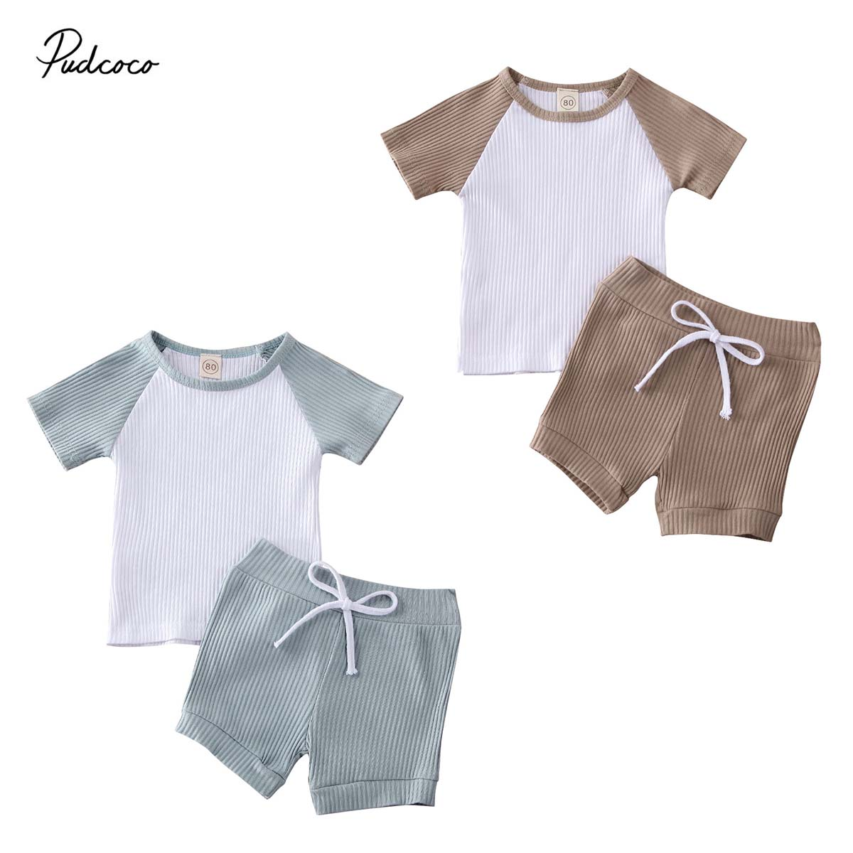 2020 Baby Summer Clothing 2PCS Toddler Kids Baby Boys Girls Short Sleeve Shirt Shorts Pants Clothes Ribbed Patchwork Outfit