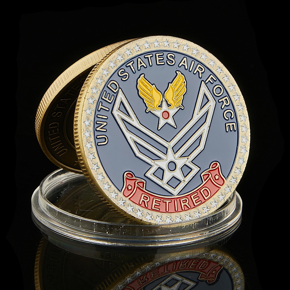 USA Air Force Retired Above All Integrity Service Excellence Bronze Coloried Challenge Force Coin