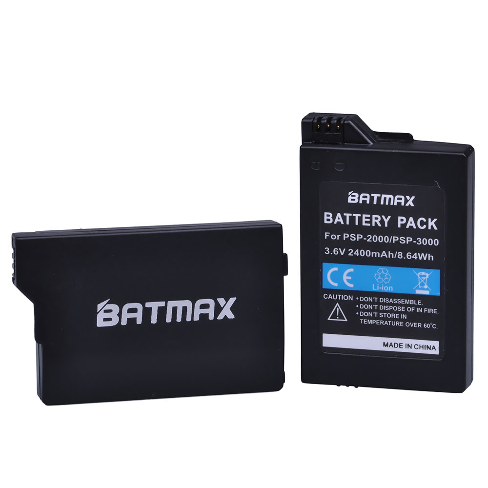 Batmax 2Pc 2400mAh Lithium Ion Rechargeable Battery Pack for Sony PSP 2000 PSP-3000 Console image
