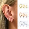 6mm/8mm 925 Sterling Silber Kreis Zirkon CZ Hoop Ohrringe für Frauen Gold/Rose gold/silber Kleine Runde Ohrringe Modeschmuck