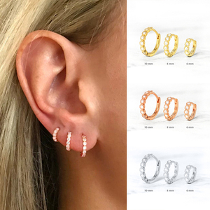 6mm/8mm 925 Sterling Silver Circle Zircon CZ Hoop Earrings for Women Gold/Rose gold/Silver Small Round Earrings Fashion Jewelry