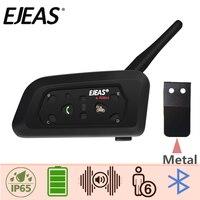 EJEAS V6 Pro Intercom Moto Wireless Helmet Bluetooth Headset Boomed Microphone Metal Clamp USB 850mAh 6 Rider 1200M Waterproof