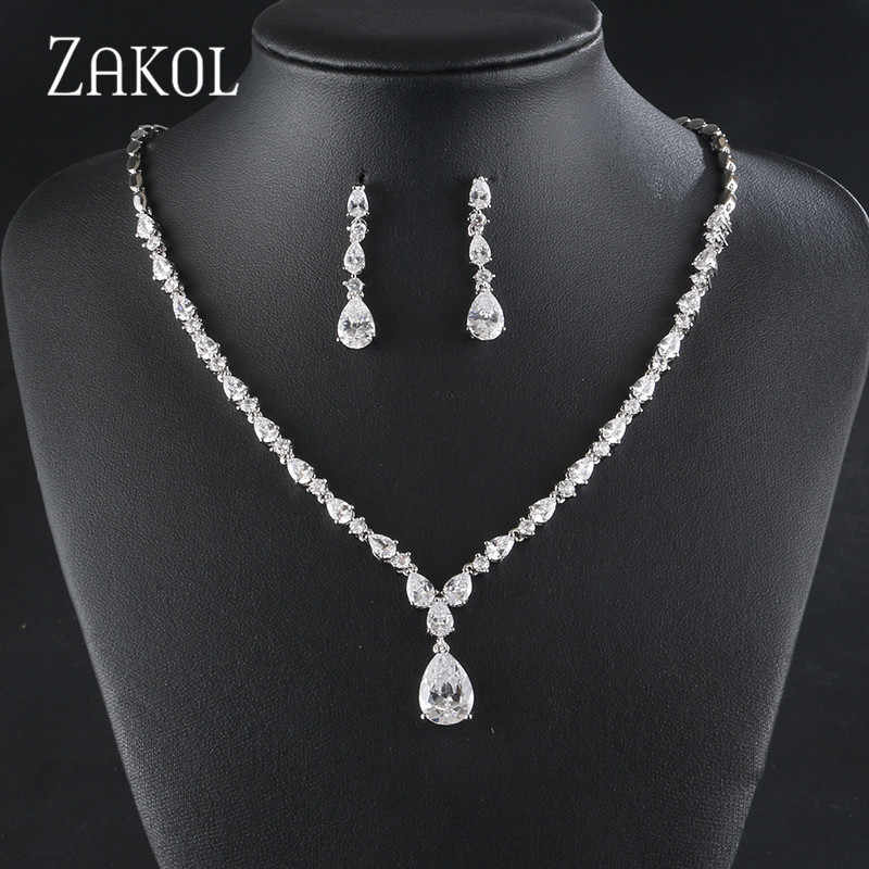 ZAKOL Elegant High Quality Wedding Jewelry Set Gold Zircon Drop-shaped Necklace Earrings Set Ladies Jewelry Accessories FSSP429