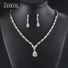 ZAKOL Elegant High Quality Wedding Jewelry Set Gold Zircon Drop-shaped Necklace Earrings Ladies Accessories FSSP429