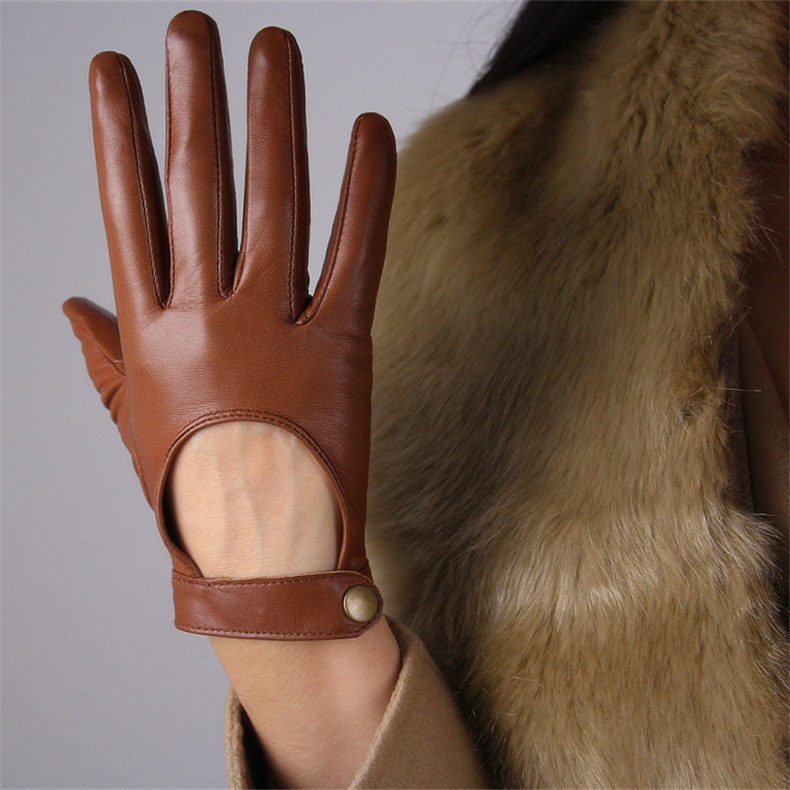 Real Leather Extra Short Gloves Black Genuine Lambskin Sheepskin Cut Out Cropped
