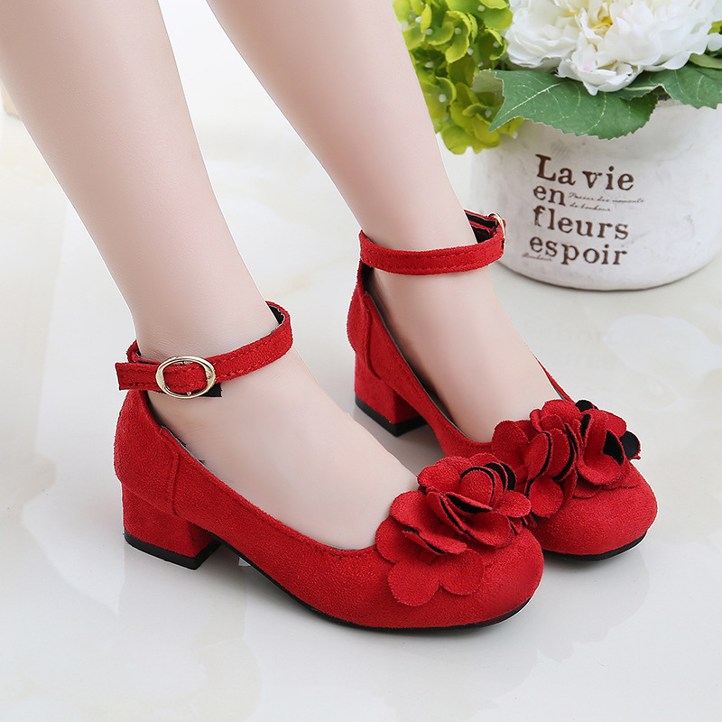 Kids Dress Shoes For Girls High-heeled Petal Flower Princess PU Leather Shoes Party Wedding Dance Single Shoes Flannel Moccasin