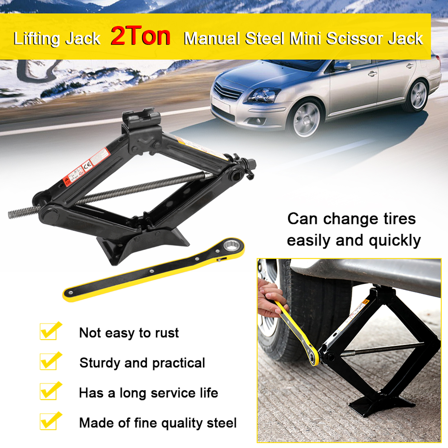 2T Mini Scissor Jack Manual Lifting Jacks Car Steel 2 Ton Black Lifting Jack With 17mm Ratchet Wrench For Auto Tire Repair