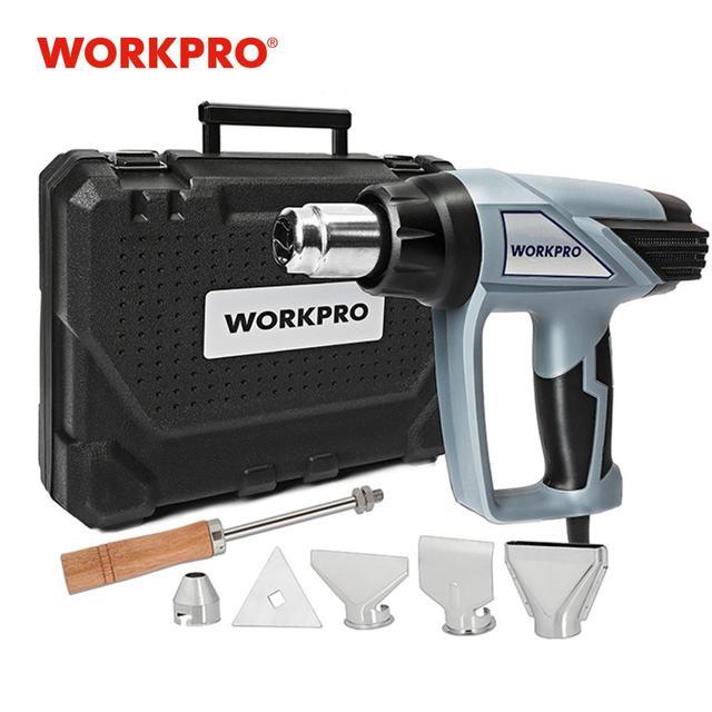 Workpro 220 220vヒートガン2000ワット家電ホットエアガン温度調節デジタル熱銃lcdディスプレイ