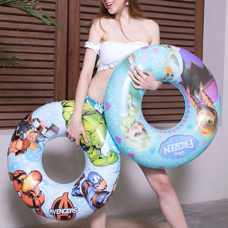 Kids Cartoon Inflatable Swimming Ring For Pool Float Mattress Swimming Pool Thickened PVC Summer Floating Ring Seat Toys